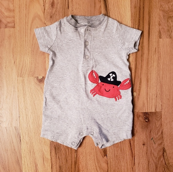 NWT Carter/'s Baby Boy Pirate Crab Knit Romper 6,9 months infant